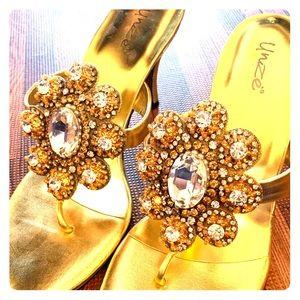 Unze London Gold Evening Sandals